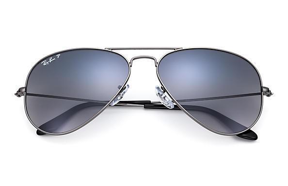 Ray-Ban RB 3025 004/78 Gunmetal Blue Grey Gradient Polarized Aviator Sunglasses