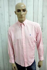 RALPH-LAUREN-Camicia-Uomo-Taglia-L-Rosa-Cotone-Man-Shirt-Casual-Manica-Lunga