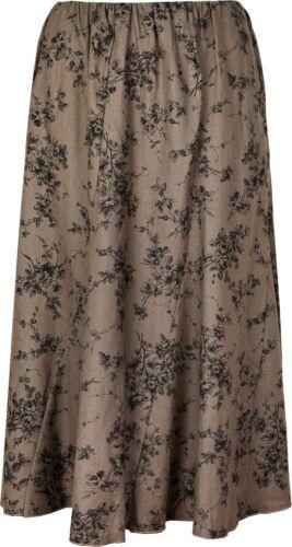 Ladies Womens Floral Embroidery Linen Skirt Elasticated Waist Brown 27 Inch KK23