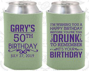 Image Is Loading Custom 50th Birthday Party Favor Koozies 20095 Happy