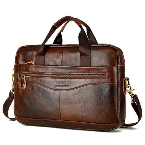 Men/'s Vintage Genuine Leather Business Handbag Briefcase Messenger Shoulder Bag