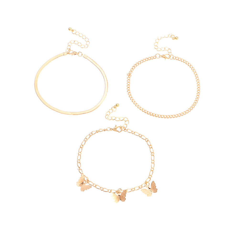 1 Set Women Foot Chain Wild Alloy Pendant Butterfly Gold Anklet Jewelry Fashibe