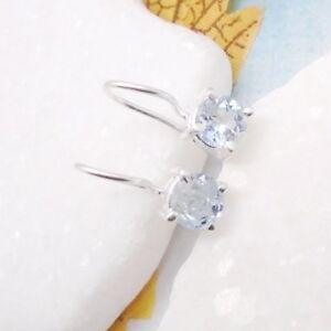 Blautopas-blau-schlicht-rund-Design-Ohrringe-Ohrhaenger-925-Sterling-Silber-neu