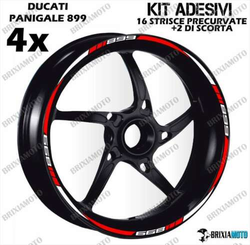 899 Profile Wheel Rim Stickers Two-Tone Panigale Ducati Blanc Rouge Bandes