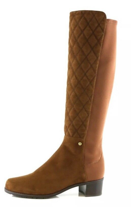 New! Stuart Weitzman Guard Walnut 9810 Suede Quilted Suede Tall Boots Size 10 B