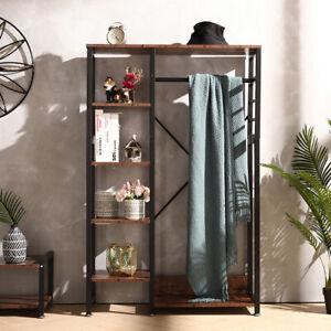 Clothes Hanging Rail Open Wardrobe Bedroom Rustic Wood Metal Storage Organizer