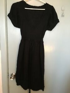 Sisley-black-knitted-dress-in-size-S