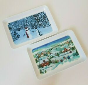 Small-Peak-Freans-Biscuits-Christmas-Melamine-Serving-Trays-Lot-9-034-x-6-034