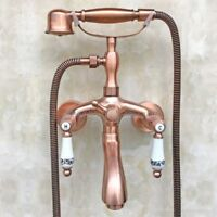 Antique Copper Clawfoot Bath Tub Faucet Telephone Design Handheld Shower Ptf802
