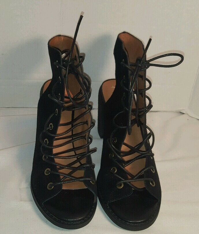 NEW UP JEFFREY CAMPBELL FREE PEOPLE BLACK SUEDE MINIMAL LACE UP NEW HEEL WOMEN'S US 9.5 0d3572