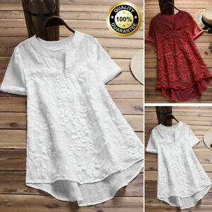 Summer-Women-Casual-Loose-Cotton-Linen-Lace-Short-Sleeve-T-Shirt-Blouse-Tops-YVV