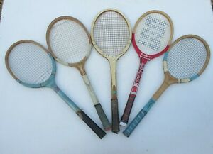 5 vintage old wooden tennis rackets for display Sondico Gunn &M Atlas Olympic