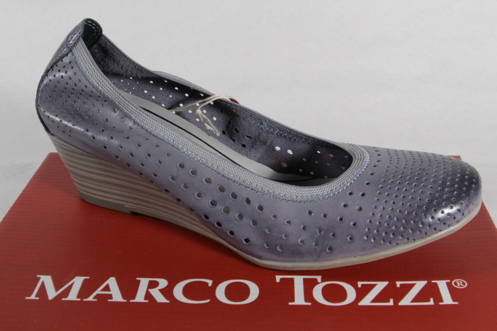 Descuento barato Marco Tozzi Zapatos De Tacón Zapatillas de Bailarina Azul Suave Suela Interior