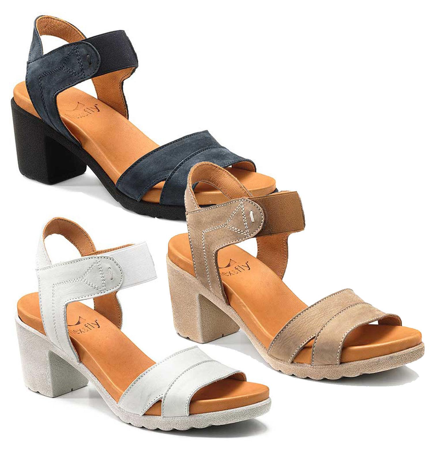 Keys 5291 Schuhe Damen Sandalen Geöffnet Hoch Absatz Plateau Nubuk Leder Gämse