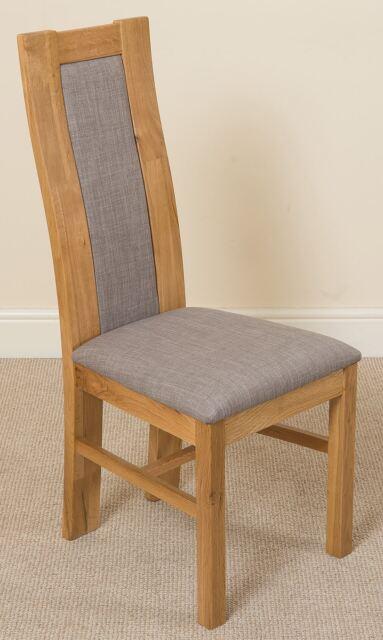 2x Solid Oak Light Wood Tone Grey Fabric Dining Room Chair Furniture Whg1 372
