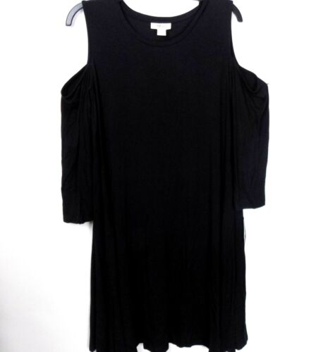 Style /& co Cold Shoulder T-Shirt Dress Size Large Black 3//4 Sleeve NWT $49.50