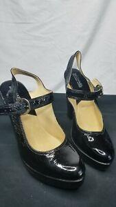 Michael-Kors-High-Heel-closed-Toe-Buckle-Black-Strap-7-5-M-leather-womens