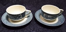 TWO Currier Ives Royal China Blue and White Tea Cup Saucer Sets 2 EXCELLENT