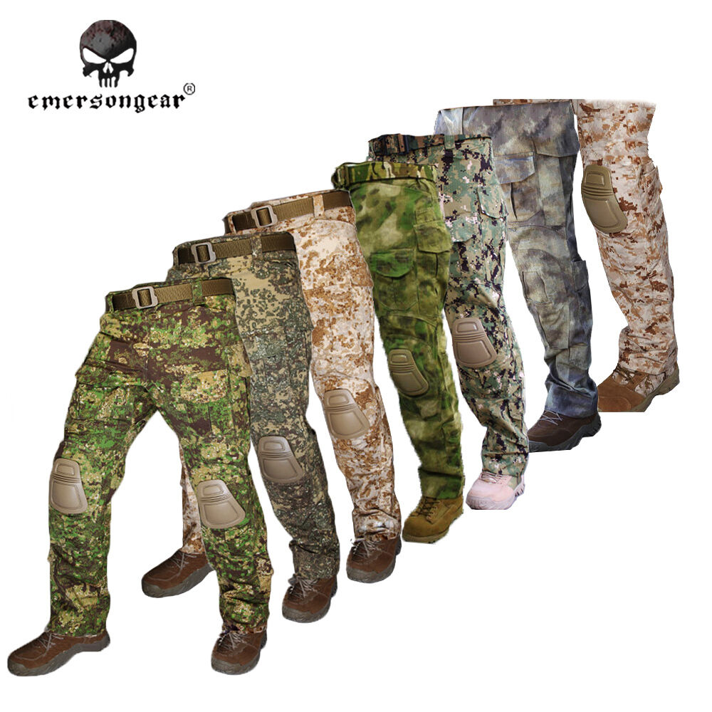 Tactical Pants with Knee Pads Emerson G3 Camping Hiking Hunting Trousers AOR1 R2