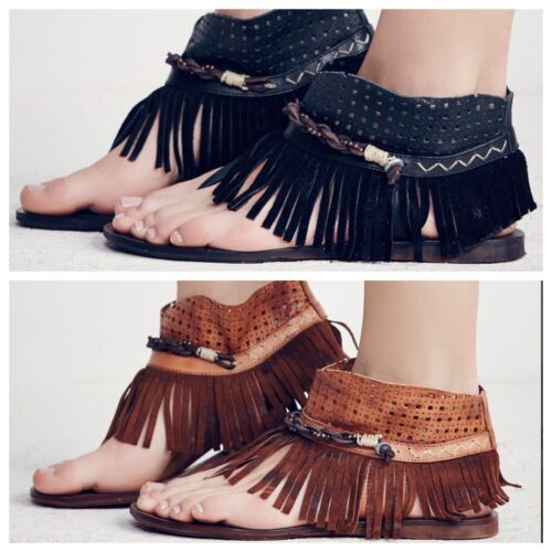 NEW Free People Journey Through Time Fringe Leather Sandals