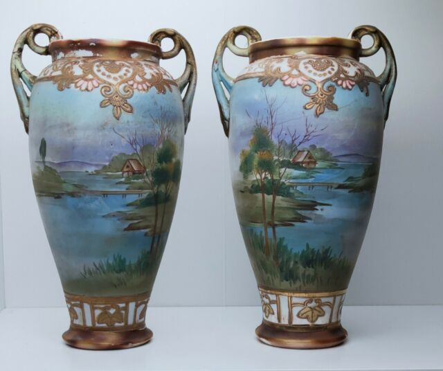 Antique  Japanese   vase x2  hand painted