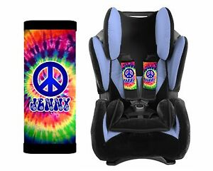 PERSONALIZED BABY TODDLER CAR SEAT STRAP COVERS TIE DYE HIPPIE PEACE
