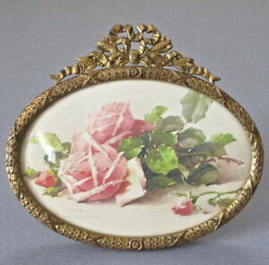 Antique-Miniature-French-GILT-Brass-Frame-BOW-Crown-w-Easel-PINK-ROSES-C-Klein