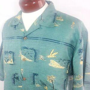 Tommy bahama silk hawaiian shirt green mens large ebay for Tommy bahama florida shirt