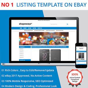 ebay listing template html professional mobile responsive design 2017 universal ebay. Black Bedroom Furniture Sets. Home Design Ideas