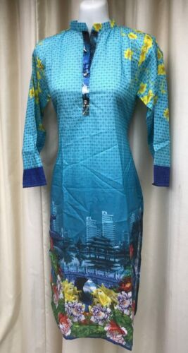 Brand New Fashion Kurti Kurta Casual Pakistani Indian Kameez Dress Ferozi Blue