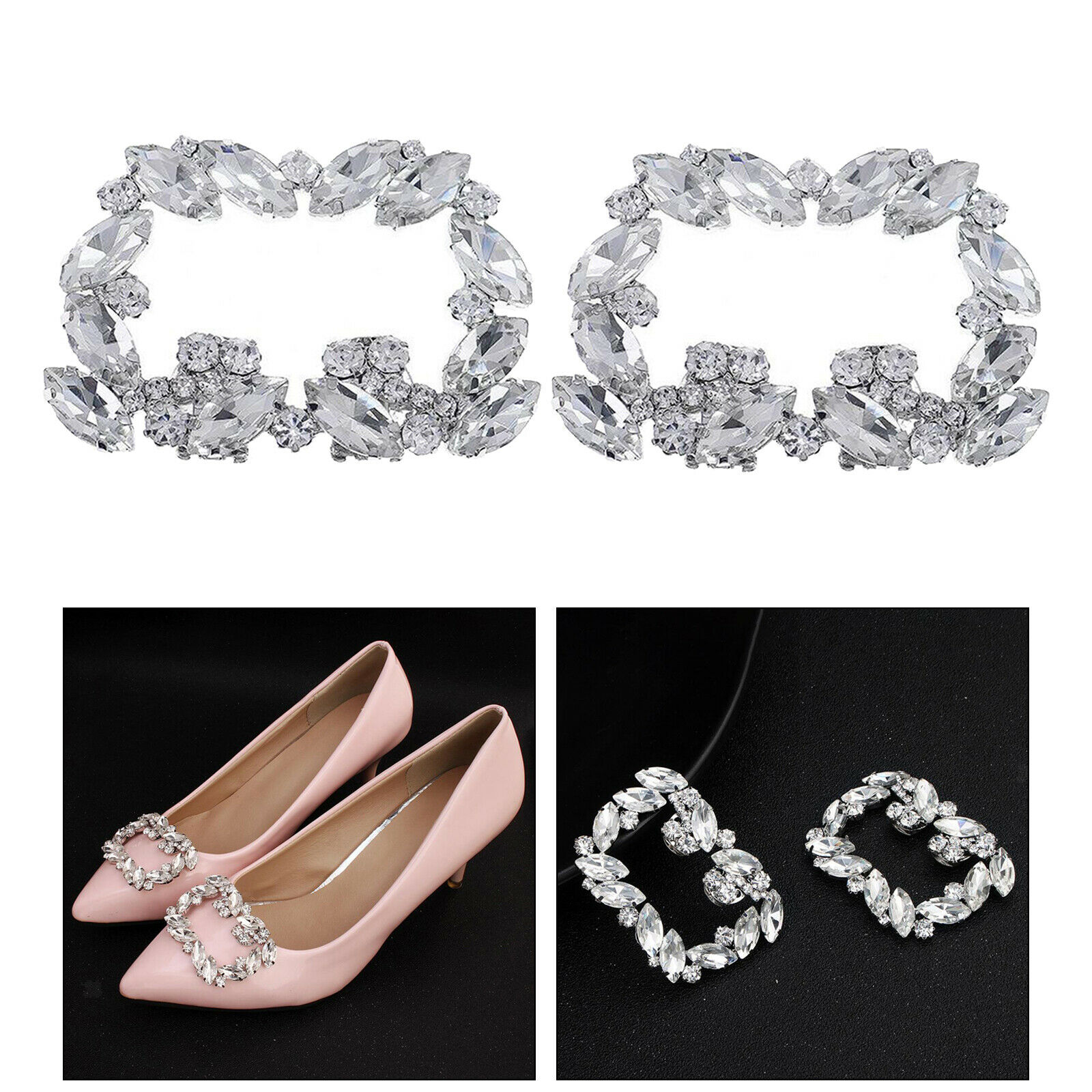 2PCS Crystal Shoe Clips Rhinestone Charms Buckle Removable Wedding Decorations