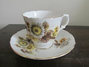 Crown-Staffordshire-Bone-China-England-Demitasse-Cup-And-Saucer-Sunflower