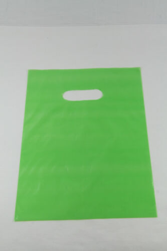 """50 9/"""" x 12/"""" LIME Green GLOSSY Low-Density Plastic Merchandise or Party Bags"""
