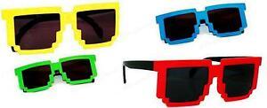 Pixelated-Sunglasses-Novelty-Nerd-Geek-Gamer-Pixel-Colored-Frame-Black-Lenses