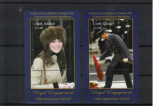 Cook Islands 2011 MNH Royal Engagement Prince William Kate 2v on 2 Deluxe S/S