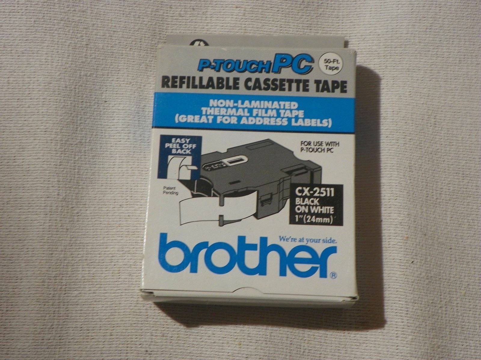 """Genuine Brother Tape CX-2511 Black Print on White Tape 1/"""" P-touch PC 24mm 50-Ft"""