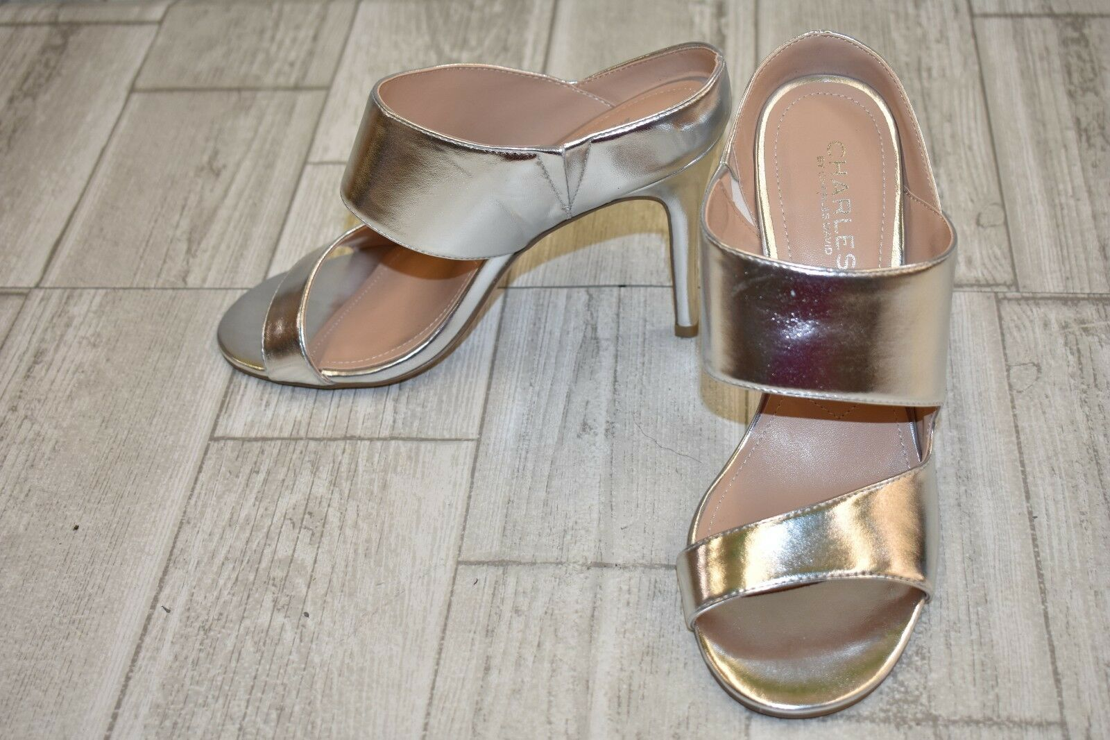 Charles By Charles David Romi Metallic Sandals, Women's Size 7.5M, Silver