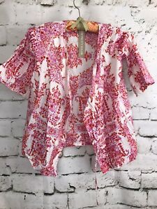 Plum-Pretty-Sugar-Floral-Pink-Kimono-Robe-Bell-Sleeve-Toddler-Girls-Size-2-3
