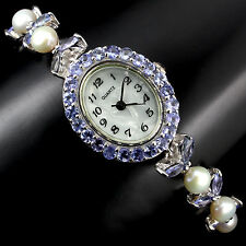 Sterling Silver 925 Genuine Natural Tanzanite Gemstone & Pearl Watch 7.5 Inch