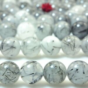 Natural-Black-Rutilated-Quartz-smooth-round-loose-beads-crystal-jewelry-15inches