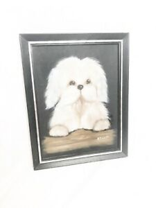 P-Finseth-Original-Art-Dog-Painting-Framed-Wooden-White-Dog-big-eyes-adorable