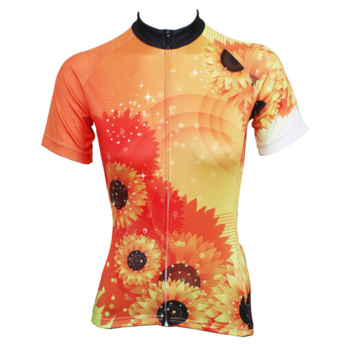Women/'s Cycling Clothing Kit Sunflower Biking Jersey and Padded Shorts Set S-5XL