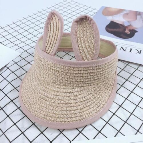 Children/'s Beach Hat Girls Cute Rabbit Ears Empty Top Summer Straw Hats Kids Fol