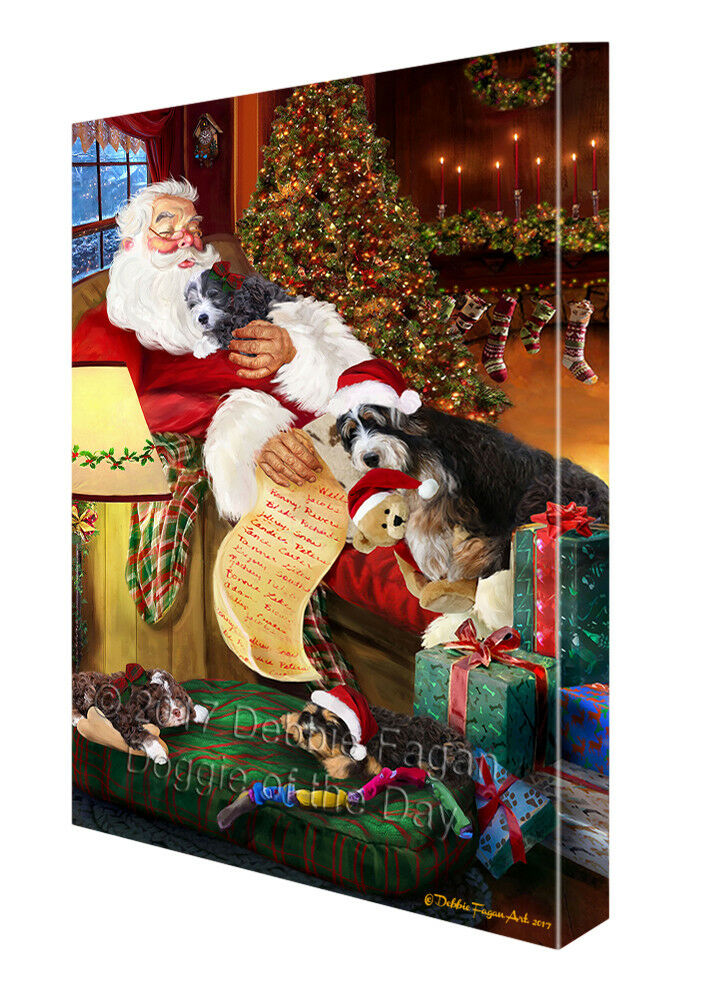 Bernedoodlle Dog and Puppies Sleeping with Santa Canvas Wall Art