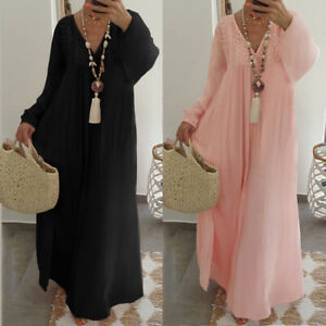 Women Spring Summer Cotton Sundress V Neck Lace Floral Plus Size Long Maxi Dress