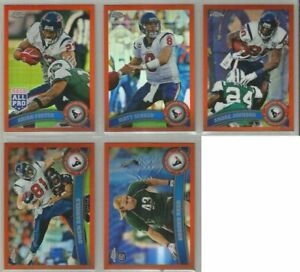 Houston-Texans-5-card-2011-Topps-Chrome-ORANGE-REFRACTORS-lot-all-different
