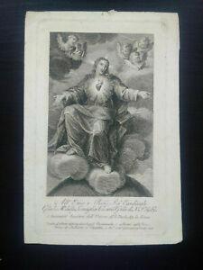 Rare gravure religieuse 1803 Angelo Campanella Sacré Coeur Jésus Christ