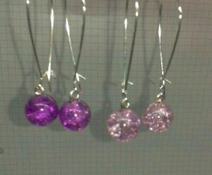 2 PAIA 10mm in Vetro Crackle Perline Viola + Lilla Argento PLT lunghi orecchini a forma di rene + 3CM