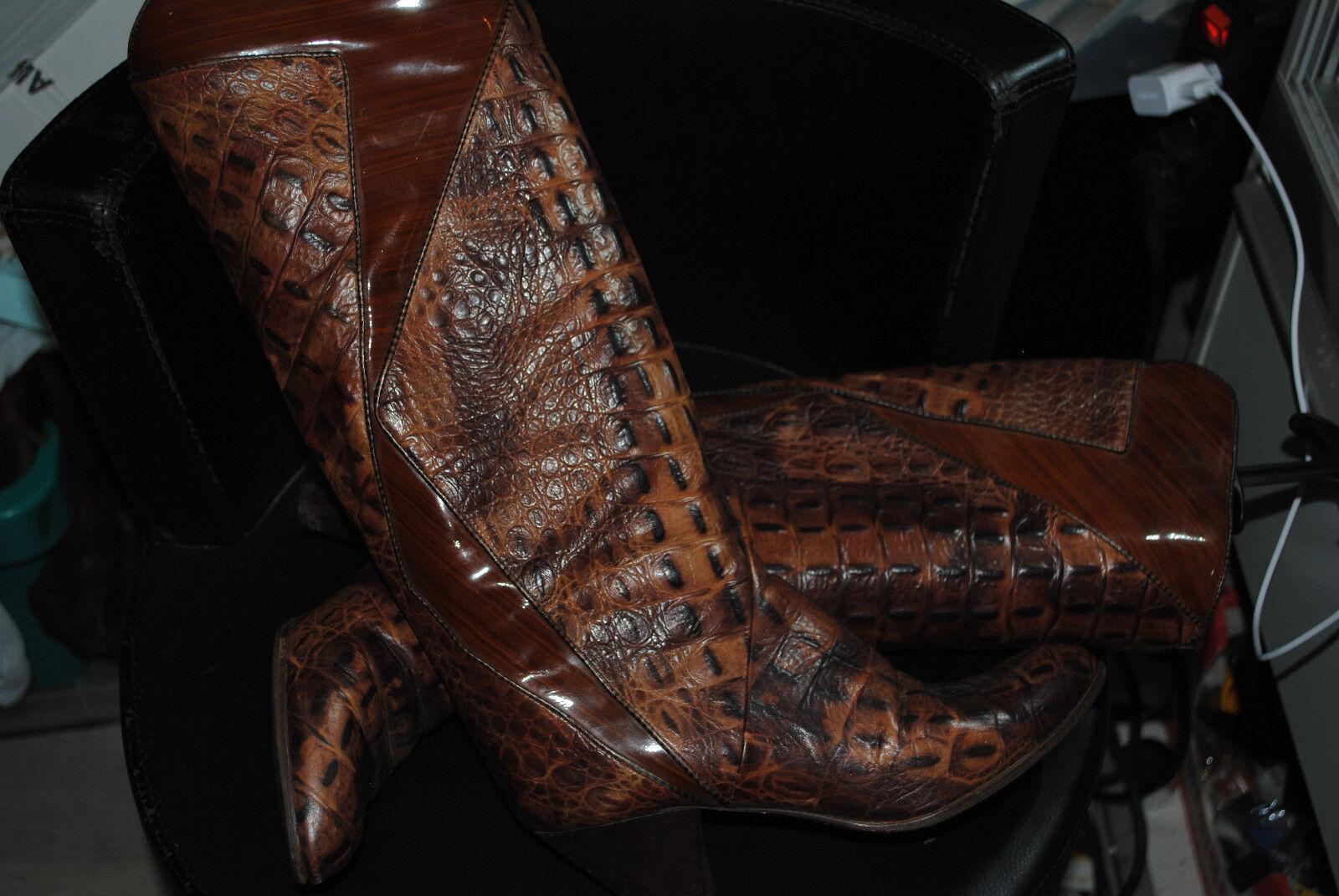 Damen Stiefel aus Echteleder , Reptil Gr.38, von