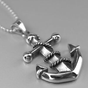 Silver anchor pendant stainless steel 316l ball chain necklace image is loading silver anchor pendant stainless steel 316l ball chain aloadofball